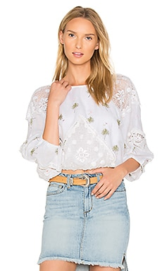 Carolina Mindset Embroidered Top in White
