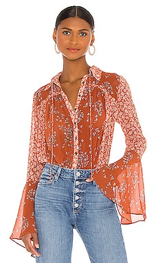 Serena Printed Blouse Free People $98 NOUVEAU