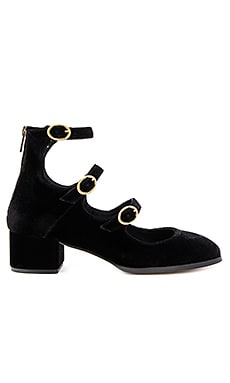 Mercury Block Heels in Black Velvet
