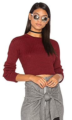 Rib Cropped Sweater in Red