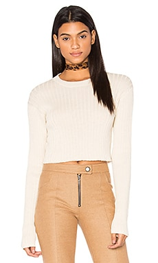Rib Cropped Sweater in Ivory