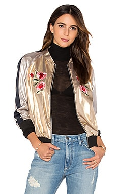 Embroidered Bomber Jacket in Light Gold