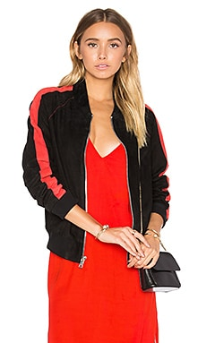 Baseball Jacket in Black & Red Stripe