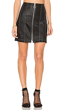 Leather Stitched Skirt