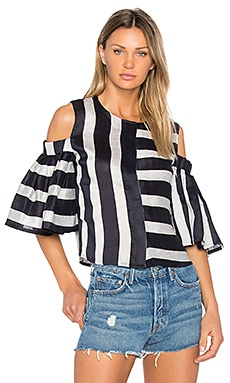 Cold Shoulder Blouse in Navy & Grey Stripe
