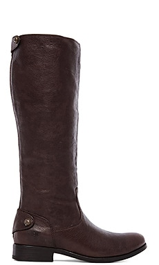 Frye Melissa Button Back Zip Boot in Dark Brown
