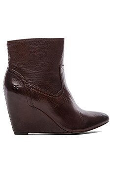 Frye Regina Wedge Short Boot in Dark Brown