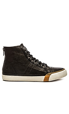 Frye Greene High Back Zip Rabbit Shearling Sneaker in Black