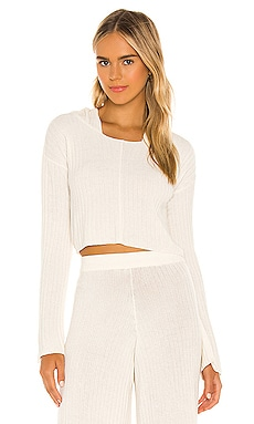 x REVOLVE Rib Knit Hoodie Flook The Label $113 NEW
