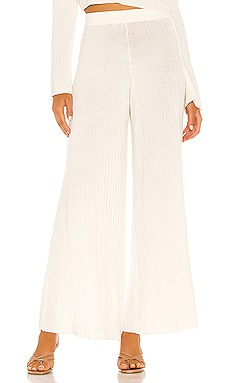 x REVOLVE Rib Knit Wide Leg Trouser Flook The Label $135 NEW
