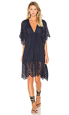 Ganni V Neck Lace Dress in Iris