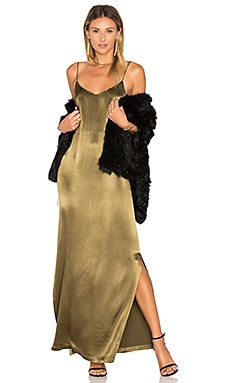 Sanders Satin Slip Maxi Dress in Dark Olive
