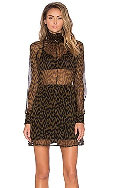 Ganni Long Sleeve Sheer Top Mini Dress in Plantation & Black