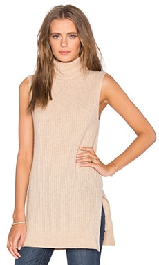 Turtleneck Sweater Tank in Ivory Cream Melange