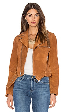 Suede Biker Jacket in Cognac