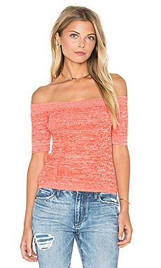 Ganni Off the Shoulder Top in Red Clay Melange