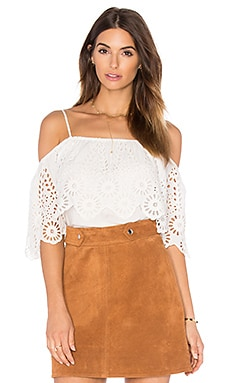 Ganni Lace Cold Shoulder Top in Egret