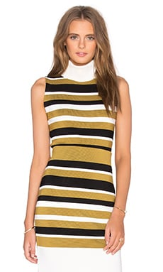 Ganni Sleeveless Turtleneck Top in Cream Stripes