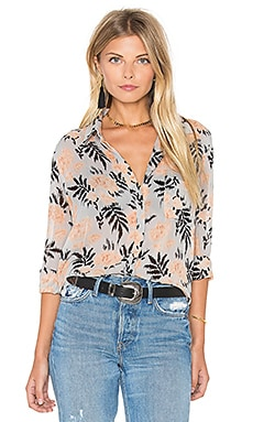 Ganni Long Sleeve Button Up Top in Cork Flowers