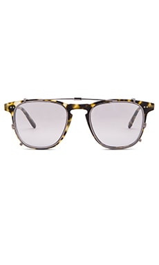 Garrett Leight Brooks with Clip in Matte Tokyo Spotted Tortoise & Gunmetal & Silver Mirror