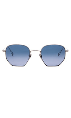 Garrett Leight x Mark McNairy Liberty in Shiny Silver & Blue Gradient