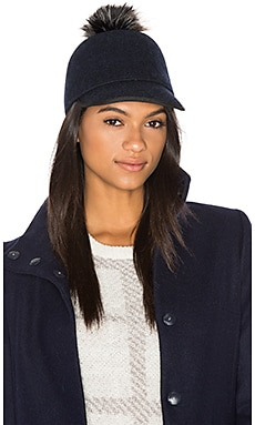 Alex Hat with Faux Fur Pompom in Navy