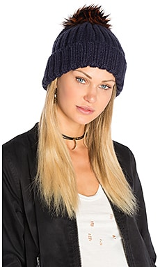 Faux Fur Dani Beanie in Navy