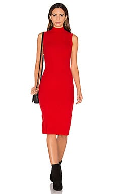 The Sleeveless Turtleneck Sweater Dress in Red
