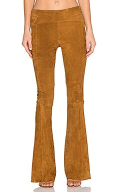 GETTINGBACKTOSQUAREONE Suede Flare Legging in Cognac