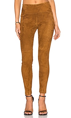 GETTINGBACKTOSQUAREONE Suede Crop Legging in Cognac