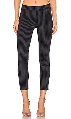 GETTINGBACKTOSQUAREONE Pin Tuck Pant in Navy Pinstripe