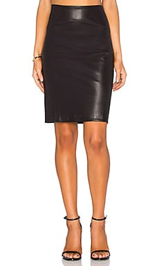 GETTINGBACKTOSQUAREONE Leather Pencil Skirt in Black