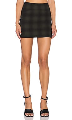 GETTINGBACKTOSQUAREONE Mini Skirt in Olive & Black Plaid