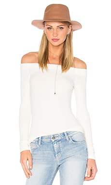 GETTINGBACKTOSQUAREONE Off The Shoulder Long Sleeve Top in Vanilla Ice