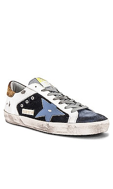 Superstar Net & Leather Upper Leather Star Suede Heel Golden Goose $495