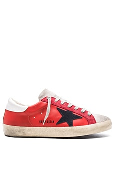 Golden Goose Superstar Sneakers in Red Leather & White Suede & Blue Star