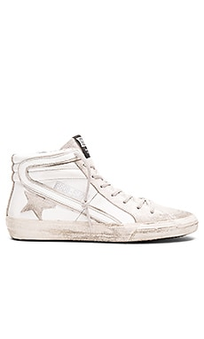 Golden Goose Slide Sneaker in White & Silver Glitter