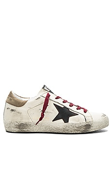 Golden Goose Superstar Sneaker in Cream Red Lace & Black Star