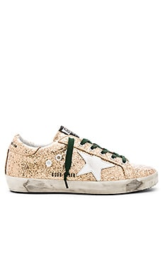 Golden Goose Superstar Sneaker in Gold Glitter & Emerald Lace