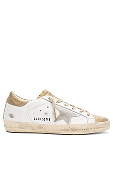 Superstar Sneaker in Gold & White Suede Star