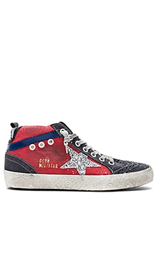 Mid Star Sneaker in Red Canvas & Glitter Star