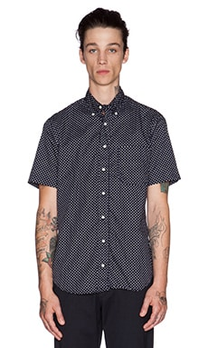 Gitman Vintage White Dot Button Down in Navy
