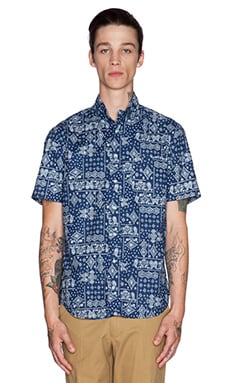 Gitman Vintage Indigo Bandana Button Down in Navy