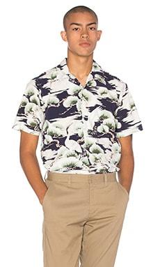 Gitman Vintage S/S Open Collar Button Down in Navy