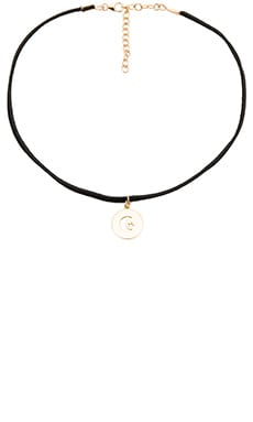 Moon Star Choker in Black Suede
