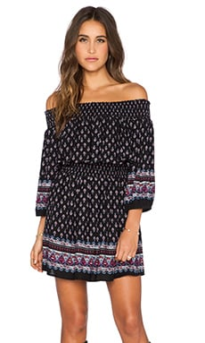 GLAMOROUS Off The Shoulder Tunic in Navy Folk Print