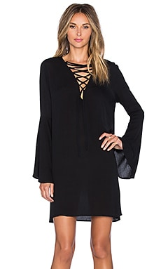 GLAMOROUS Lace Up Mini Shift Dress in Black