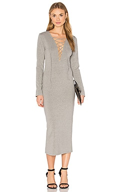 GLAMOROUS Lace Up Dress in Grey Marle