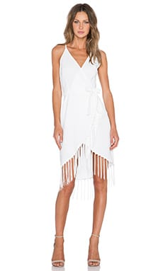 GLAMOROUS Fringe Wrap Dress in Cream