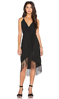 GLAMOROUS Fringe Wrap Dress in Black